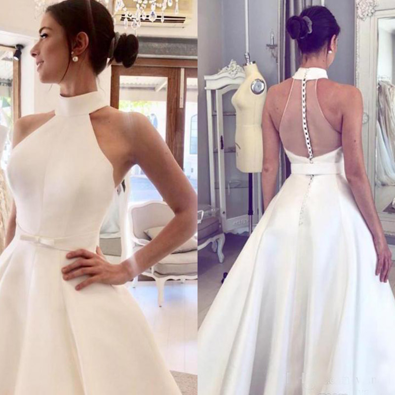 2019 A Line Satin Wedding Dresses Halter Neck Backless Covered Button Sweep Train Plus Size Bridal Gowns