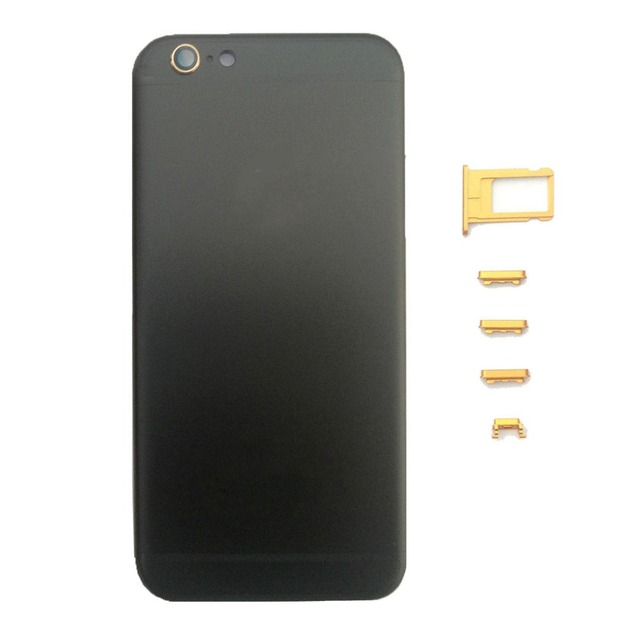 Replacement Middle Frame Battery Door for iPhone 6S/6S Plus Back Cover Housing Black With Gold Logo&Side Button, Free Shipping