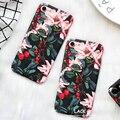 Lujo Lindo de la Historieta Flores Floral Cajas Del Teléfono de Plástico Duro de Nuevo Cubierta de Coque funda para iphone 6 caso para iphone 6 s 7 7 plus capa