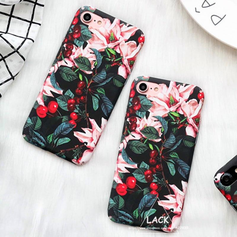 Πολυτελές χαριτωμένο κινούμενα λουλούδια Floral πλαστικό σκληρό τηλέφωνο θήκες πίσω κάλυμμα Coque Funda για iPhone 6 θήκη για iphone 6S 7 7 Plus Capa