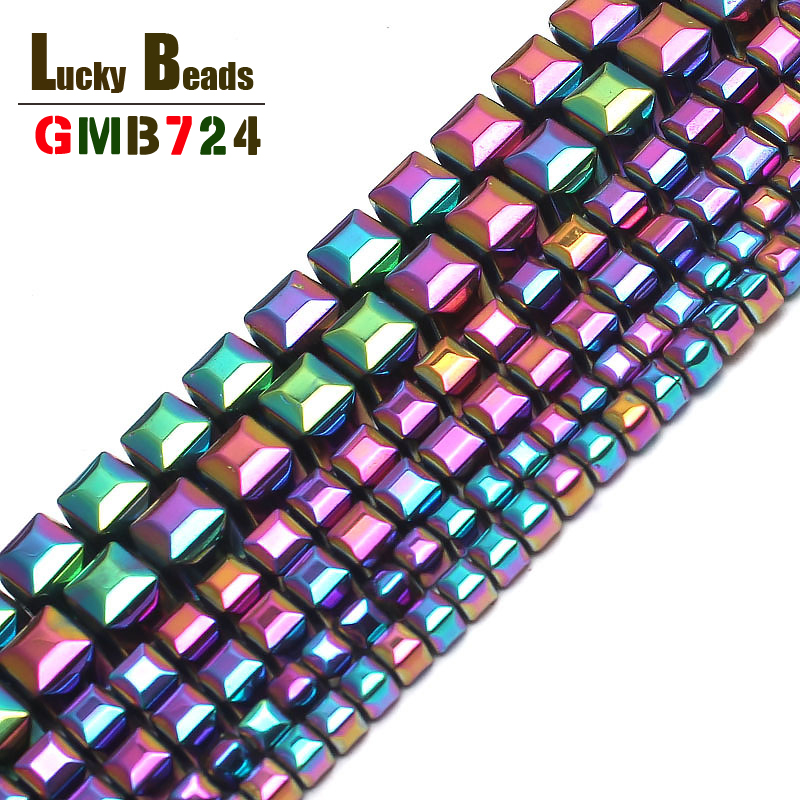 Beads Wholesale Black/gold/silver/rainbow 140pcs/lot Coated Natural Stone Hematite Cube Square Loose Spacer Beads For Diy Necklace Jewelry & Accessories