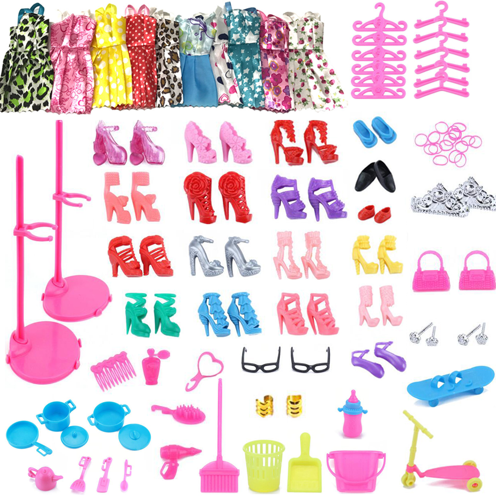 NK One Set Doll Accessories Mix Sorts Dress Shoes Hangers Stand Bags DIY Play Cleaning House Toys For Barbie Doll Furniture barbie dolls dress up best gift packs child toys items set doll accessories hangers bag shoe earring bowknot crown