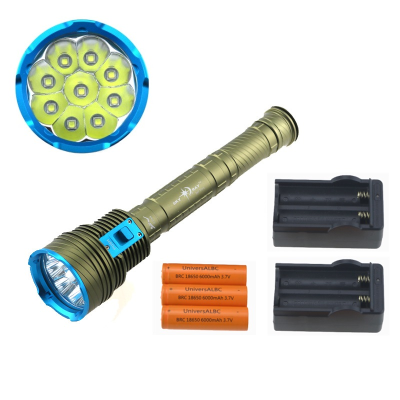 18000 Lumen LED Diving flashlight 9 x CREE XM-L2  LED Underwater Video Torch linternas Waterproof Lamp + 18650 Battery + Charger