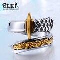 BEIER Tailandia de acero japonés Fashionadjustable apertura Samurai espada cuchillo hombre anillo de oro único no se descolora joyería BR8-405
