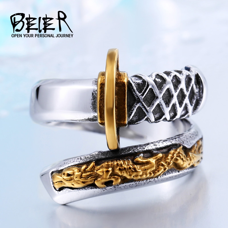 BEIER Thailand Steel Japanese Fashionadjustable Åpning Samurai Sword Knife Man`s Gold Ring Unique Ikke falme smykker BR8-405