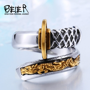 BEIER Thailand Steel Japanese Fashionadjustable Opening Samurai Sword Knife Man Gold Ring Unique Not fade jewelry BR8-405(China)