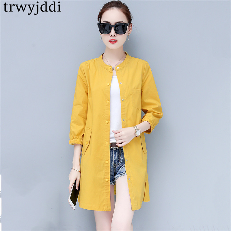 Thin Coat Female Long Casual Loose   Trench   Coats 2019 New Spring Plus Sizes Women Korean Summer Slim Cardigans Outerwears hl446