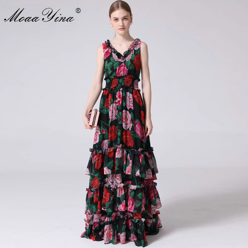 MoaaYina Fashion Designer Runway Dress Summer Women's V-neck Rose Floral-Print Ruffles Elastic waist Vacation Maxi Dresses