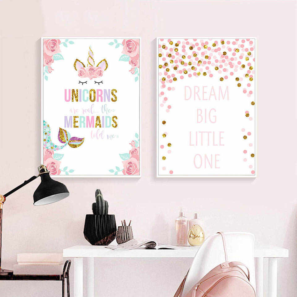 Canvas Nordic Style Prints Unicorn Letters Painting Home Decoration Wall Art Modular Pictures Watercolor Poster For Kids Room