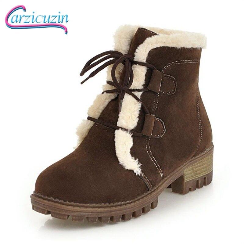 4e41eec3 Botas marrón Zapatos Mantener Calzado Up Lace Invierno Carzicuzin Mujeres  De Felpa Tacones Mujer Botines Plataforma Caliente verde Nieve 34 Altos  Tamaño ...