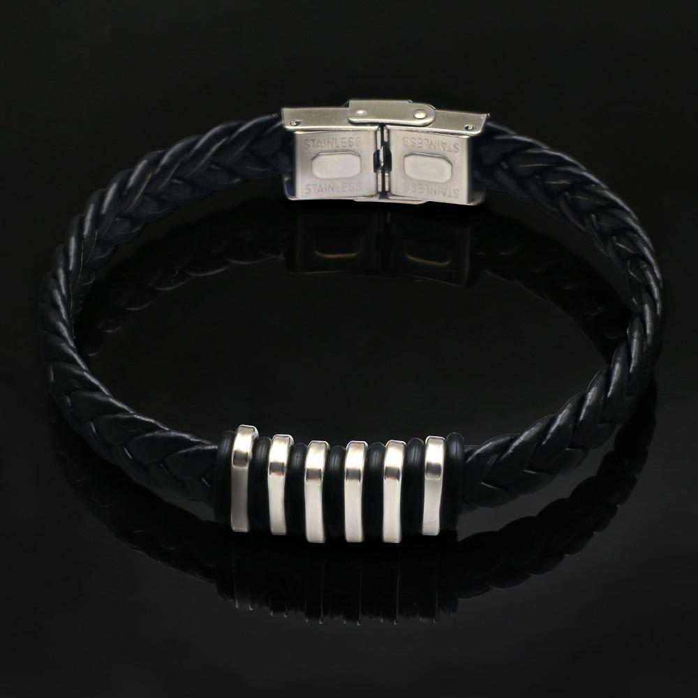 2019 Black Genuine Leather Bracelet Men Bangle Fashion New Stainless Steel Men Jewelry Rock Chunky Leather Men's Bracelets Wrist
