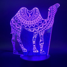 Led Night Light Arabesque Camel Creative for Office Home Room Decoration Acrylic Crafts Cool Gift Kids Child Bedroom Lamp