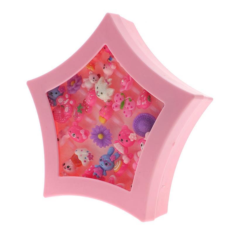 36Pcs Kids Multicolor Cartoon Adjustable Flower Animal Rings Heart//Star Box Set