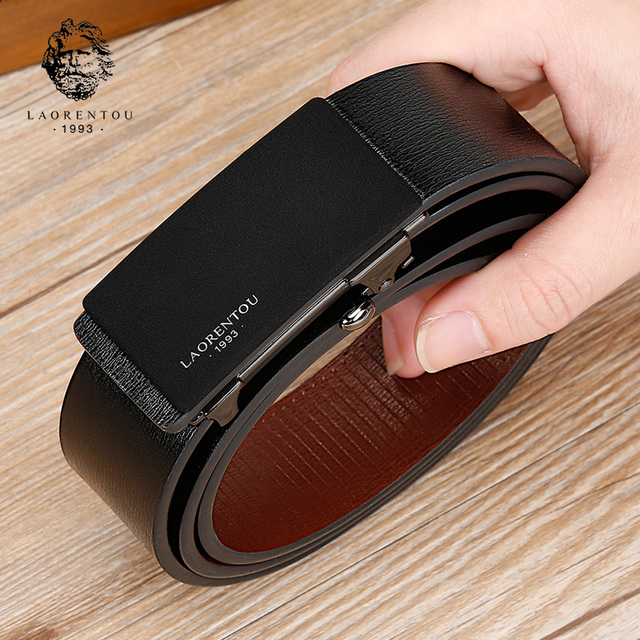 LAORENTOU Brand Men Male Cutable Belt Man's Belts with Buckle Gentleman High Quality Belt  Split Leather Replacement Belt