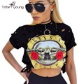 2016 Sexy Fashion Hole T-Shirt GUNS N ROSES Print Cropped Tops for Women Crop Top Hollow  Cut Out Short Sleeve Tee Shirt Femme
