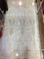 5 couleurs pur blanc paillettes tissu 2017 mode africaine tulle dentelle tissu avec des paillettes plein 5 yard de haute qualité dentelle tissu ventes