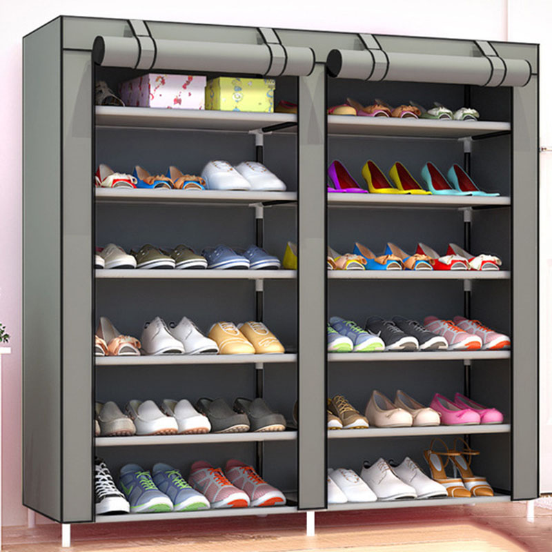 Large Capacity Double Row DIY Shoe Rack Home Multi-layer Dormitory Storage Dustproof Shoes Shelf  Cartoon Cloth Shoe Cabinet