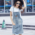 Women's 2016 Sleeveless Denim Dress Women Spaghetti Shoulder Strap  Vintage Dress  Ladies Light Blue Summer Jeans Dress Pockets