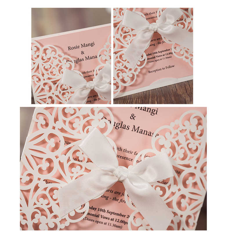 1pcs Sample Pink Laser Cut Luxury Wedding Invitation Card Elegant White Ribbon Envelopes Favor Wedding Event Party Supplies