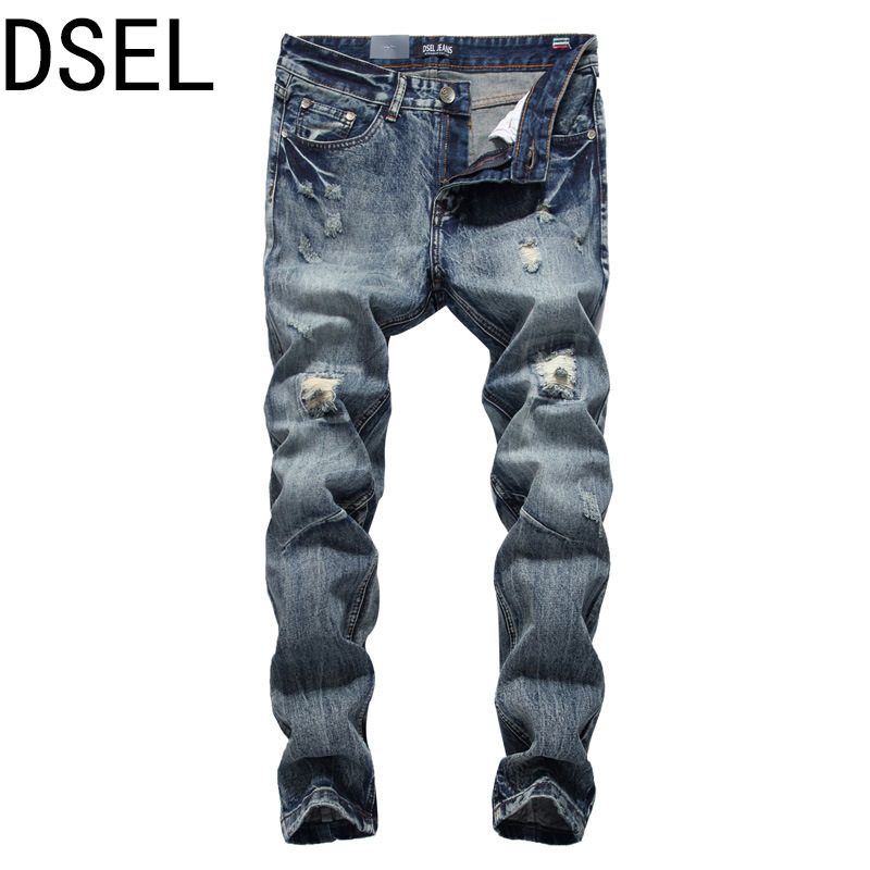 где купить  DSEL Brand Mens Jeans High Quality Straight Fit Frayed Hole Ripped Jeans Men Denim Stripe Pants Buttons Destroyed Biker Jeans  дешево