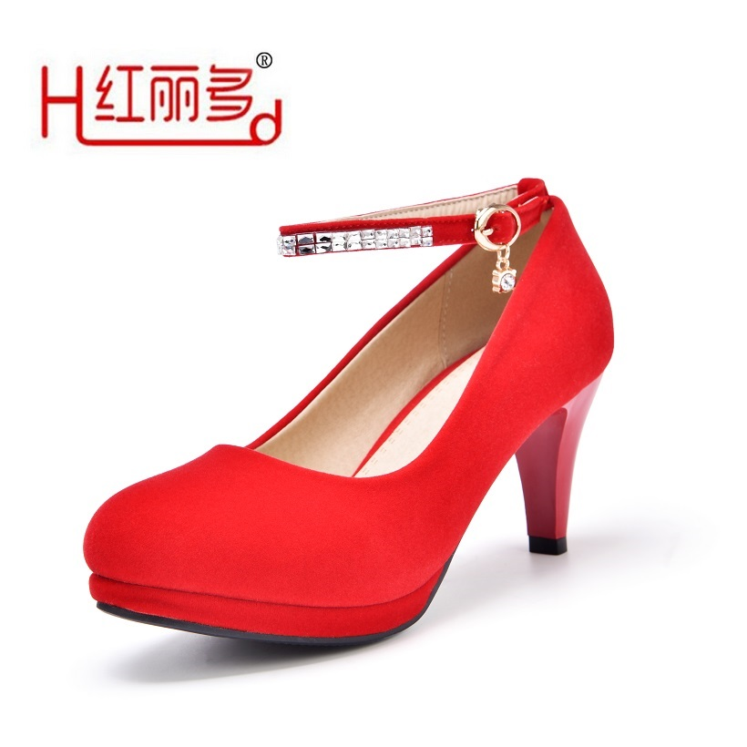 цена на Women red 42 43 small big size round high heels wedding shoes ladies black suede flock Rhinestone pump bridesmaids bridal shoes