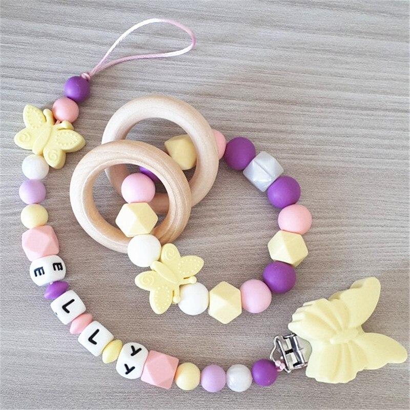 Купить с кэшбэком Chenkai 10pcs Silicone Butterfly Teether Clips DIY Animal Baby Pacifier Dummy Sensory Montessori Sensory Jewelry Teething Clips