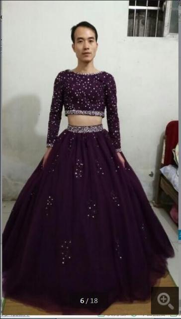 Vestido De Festa modest ballkleid echt bild abendkleid lila spitze ...