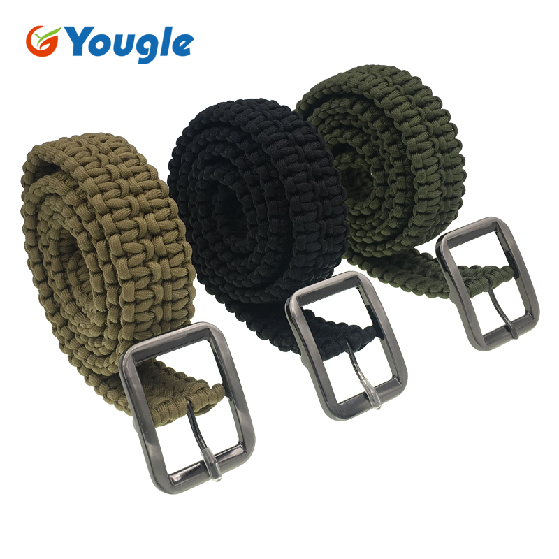 YOUGLE Customizable Survival Paracord Belt 550 Paracord Belt Utility Belt Milspec Cord Solid Steel Buckle