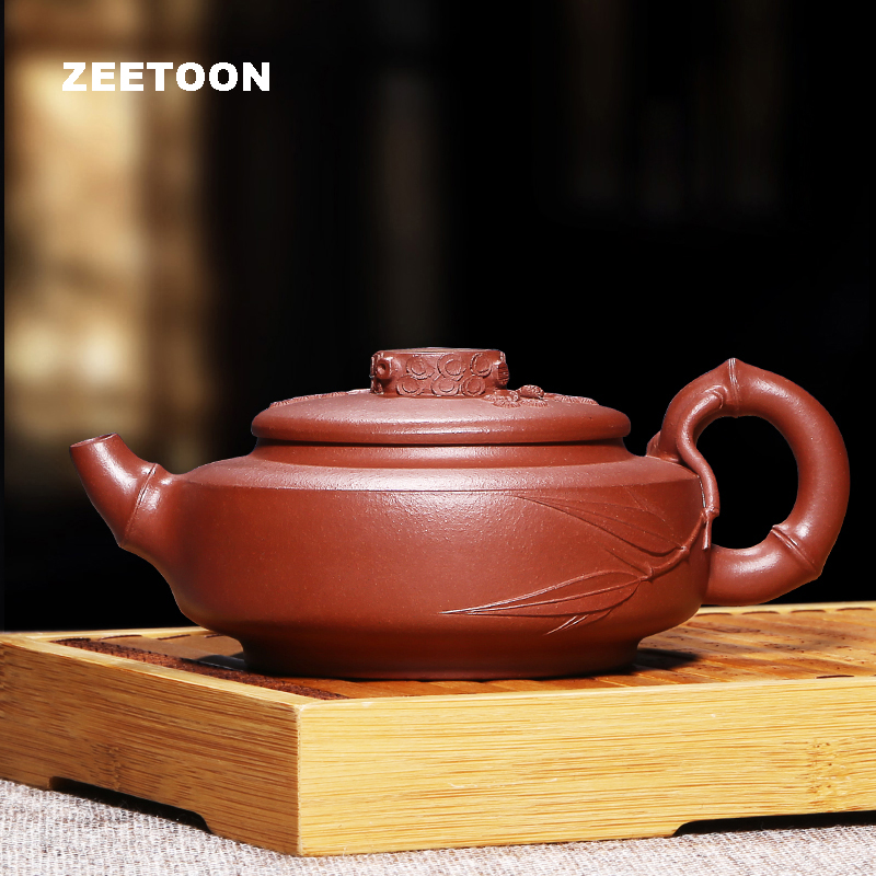 300cc Authentic Yixing Teapot Master Handmade Red Bamboo Pot Chinese Health Care Purple Clay Tea Pot Kettle Tea set Tea Maker300cc Authentic Yixing Teapot Master Handmade Red Bamboo Pot Chinese Health Care Purple Clay Tea Pot Kettle Tea set Tea Maker