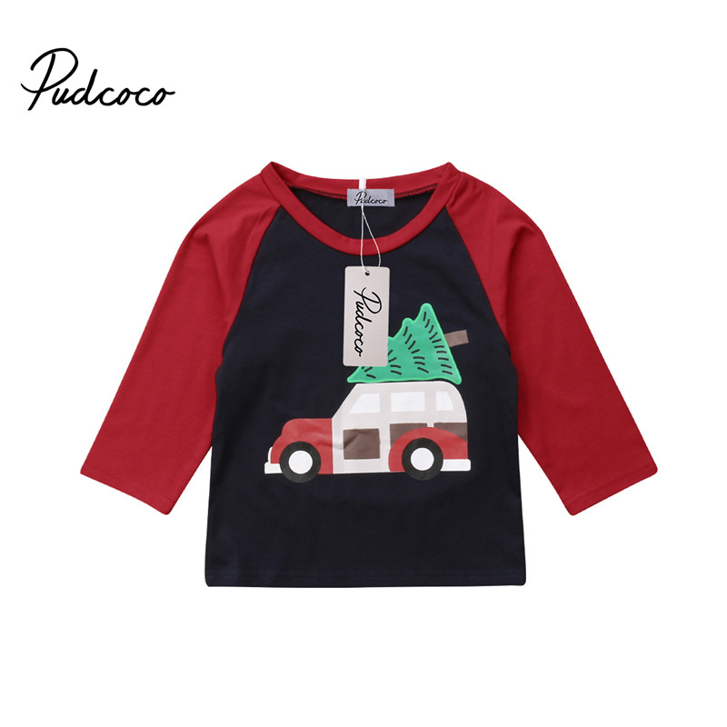 Pudcoco T-Shirt-Clothes Tee-Tops Tree-Print Long-Sleeve Christmas Baby-Boy-Girl Boys