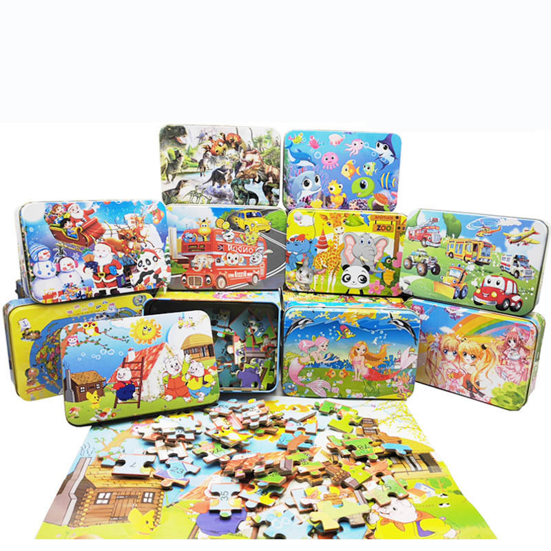 100 Pieces Wooden Puzzle Animal Cartoon Puzzles Wood Jigsaw Baby Child Early Educational Toys