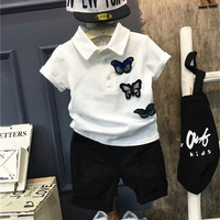DFXD Toddler Boys Summer Clothing Set 2018 Fashion Short Sleeve Turn Down Collar Embroidery Butterfly Patch T shirt+Pant Suit