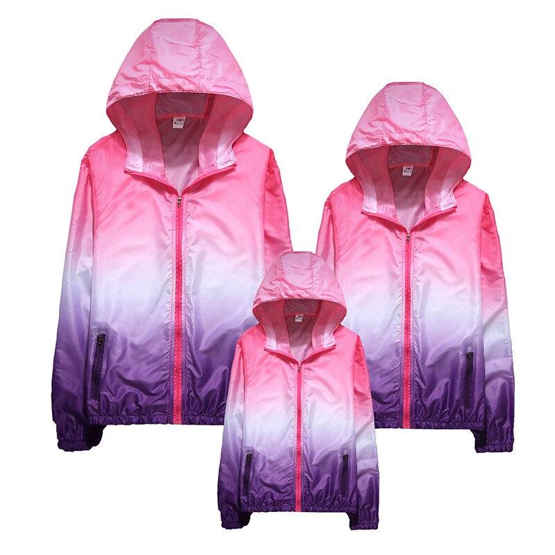 Waterproof Sportswear Tranning Jackets Men Windbreaker Women Jacket Thin Sun-Protective Outwear Clothes Children Hooded Jacket
