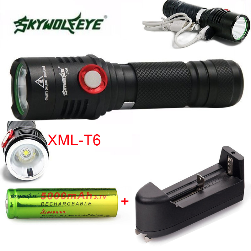 Super Brigh Zoom 5 Mode CREE XM-T6 LED USB Rechargeable Flashlight Torch Lamp lanterna + 18650 battery+charger crazyfire led flashlight 3t6 3800lm cree xml t6 hunting torch 5 mode 2 18650 4200mah rechargeable battery dual battery charger