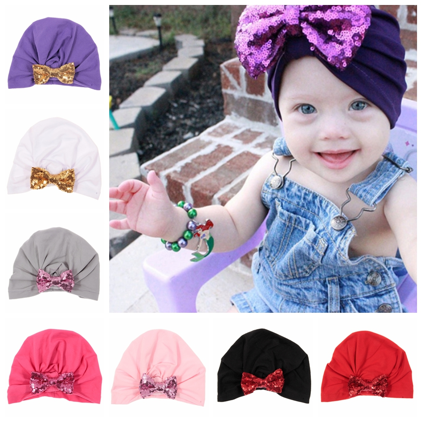 Cute Baby Girls Bows Turban Hat Sequin Bow Cotton Blend Kids Caps Beanie Top Knot Toddler Headwear Birthday Christmas Gift