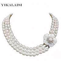 YIKALAISI 2017 Natural Freshwater Pearl Necklaces Customized Length Pearl Fashion Cultured Genuine Pearls Choker Women's Gifts