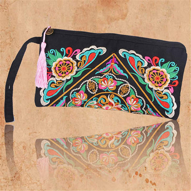 UK Women Retro Boho Ethnic Embroidered Handbag Clutch Bag Handmade Wallet Purse