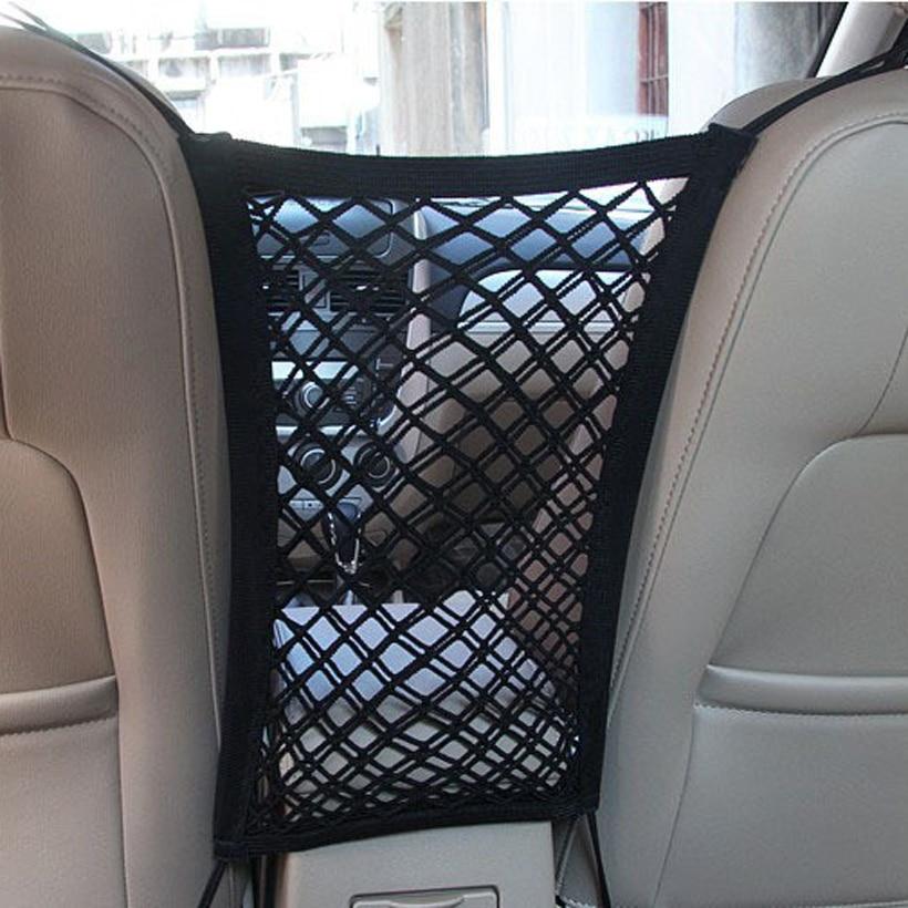 Nyeste bilbarriere med opbevaring Antikollision Mesh Child Bagsædet gitter Bil Opbevaringsposer Bilsikkerhed Elastisk Dyresikring