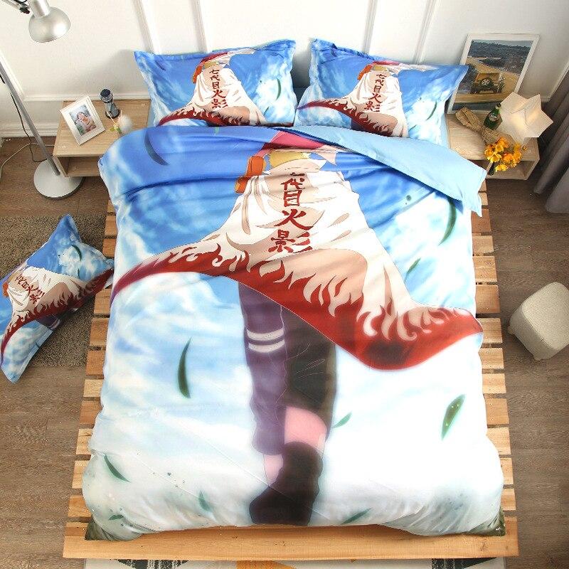 NARUTO 3D Cartoon print bedding set Duvet Covers quiltcover bedclothes Uzumaki Naruto Shippuden Uchiha Sasuke Hatake