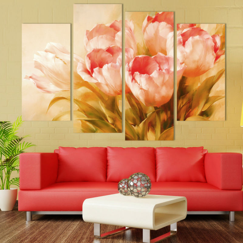 4 Panel Nordic Pink Tulip Flower Wall Art Canvas Painting