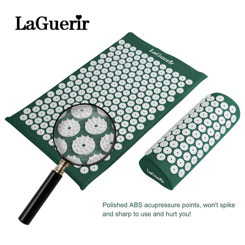 LaGuerir Massager Cushion Mat Set For Body back Acupressure Relieve Stress  Pain Aches Muscle Tension Spike Mat and Pillow