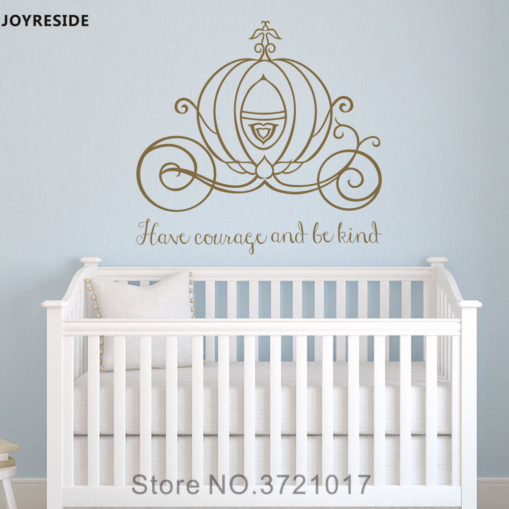 JOYRESIDE Wall Decal Vinyl Sticker Decor Cinderella Carriage Have Courage And Be Kind Girls Room Nursery Princess Mural XY053