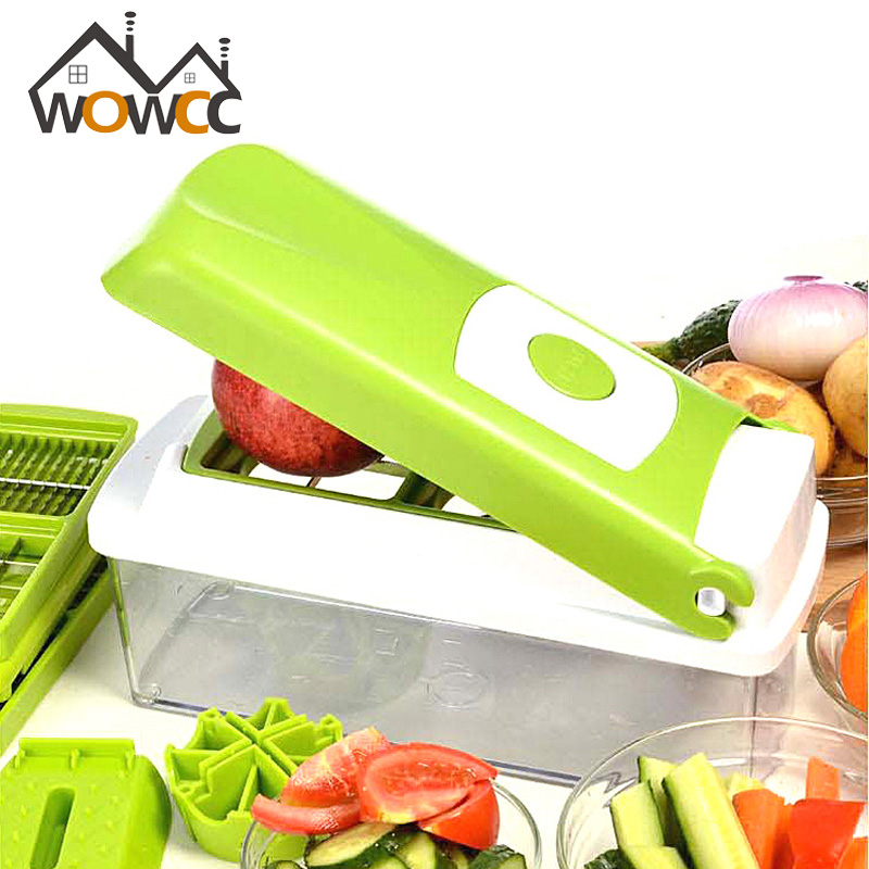 12 PCS set Multifunctional Slicer Vegetable Cutter Mandoline Slicer With Interchangeable Stainless Steel Peeler Grater
