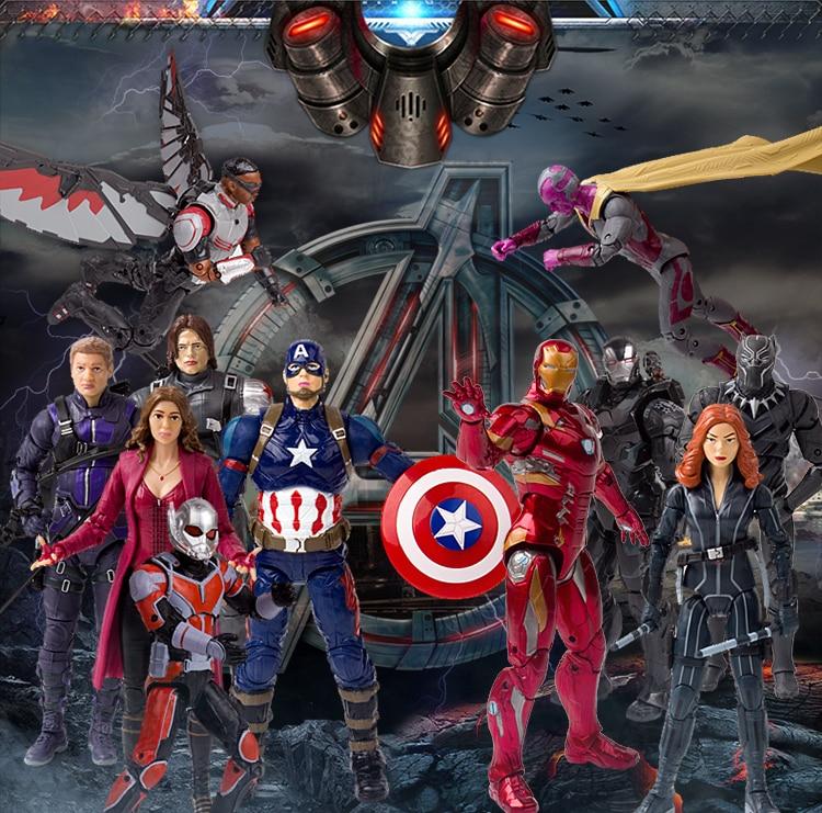 11 Styles Super Hero Avengers Iron Man Captain America Figure Dolls For Big Fans, Children Toys with War Machine Ant Man Theme