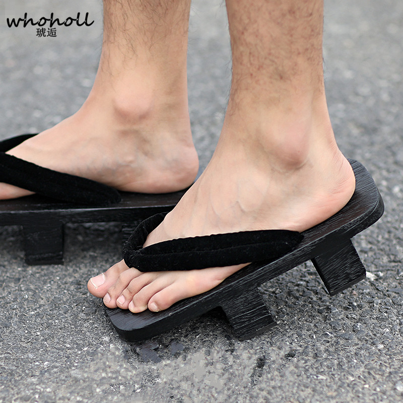 US $17.52 26% OFF|WHOHOLL Men Women Sandals Wooden Japanese Geta Anime Cosplay Costumes Shoes Black Geta Floral Flip flops Two teeth Platform in Shoes