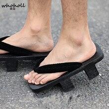 WHOHOLL Men Women Sandals Wooden Japanese Geta Anime Cosplay Costumes Shoes Black Floral Flip-flops Two-teeth Platform