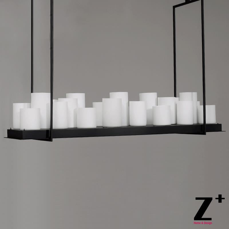 Led Industrial Vintage Pillar Candle Rectangular Chandelier Wrought Iron Metal E27 Free Shipping