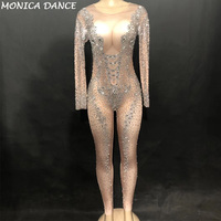 Stage Sparkly Silver Crystals Jumpsuits Sexy Big Rhinestones Nude Bodysuit Women Birthday luxurious Outfit Evening Costume Wear