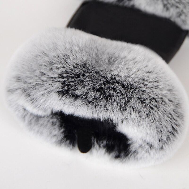 Gants en cuir véritable  fourrure de lapin demi doigt Fashion
