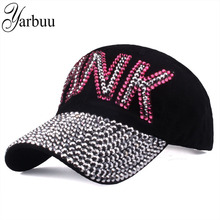 [YARBUU] Lady solid color baseball caps high quality Rhinestone cap with letter PINK Snapback Casquette hat for women wholesale